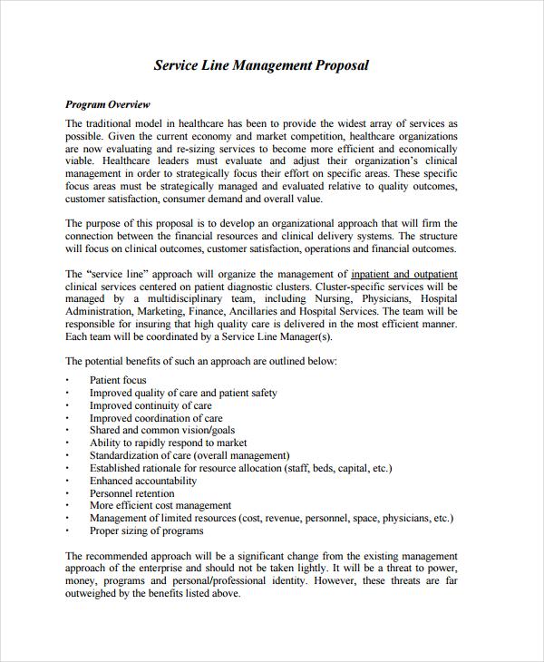 service line management proposal