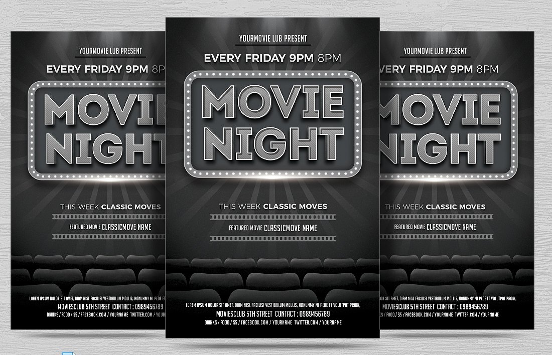 simple black movie night flyer