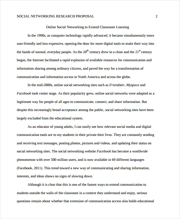 social networking research proposal