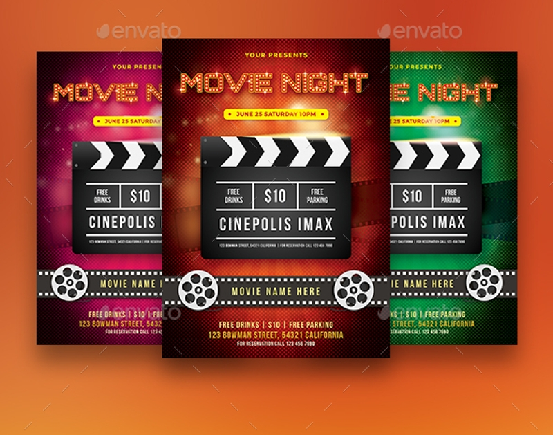 sparkly red movie night flyer