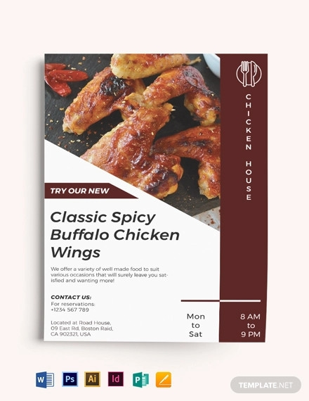 spicy chicken restaurant flyer template