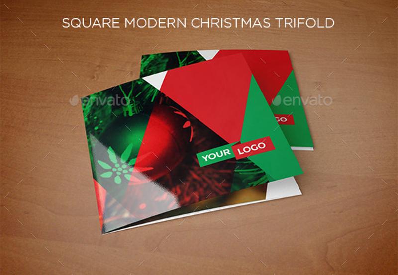 square modern christmas tri fold brochure