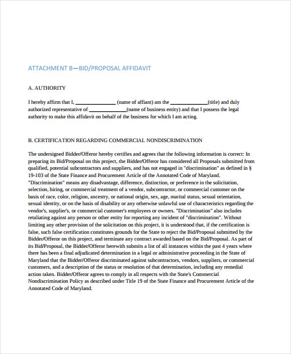 standard bid proposal