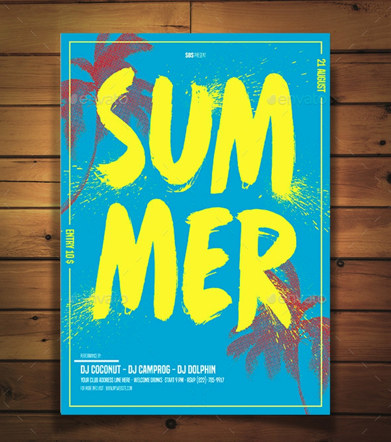 summer minimalist flyer design