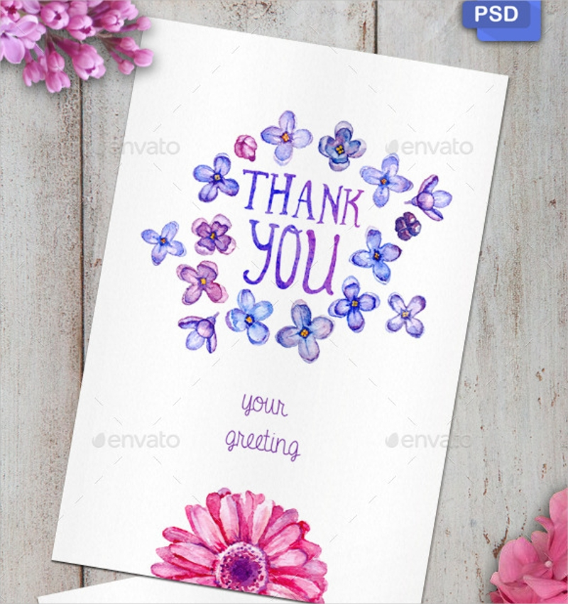 thank you watercolor greeting card