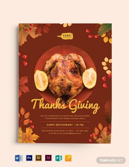 thanksgiving restaurant flyer template