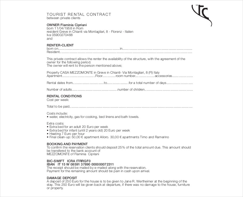 tourist rental contract