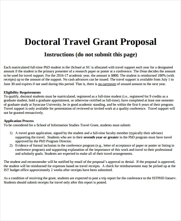 travel grant proposal