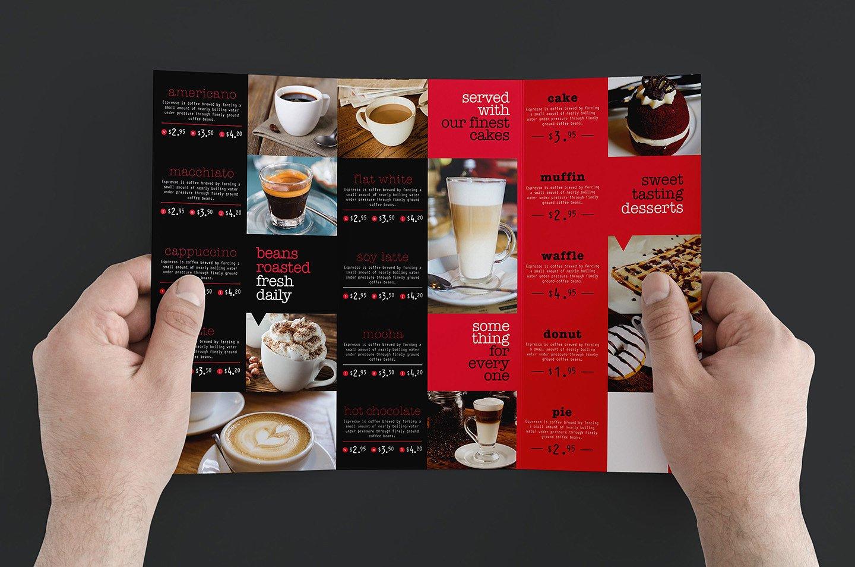 trifold coffee menu