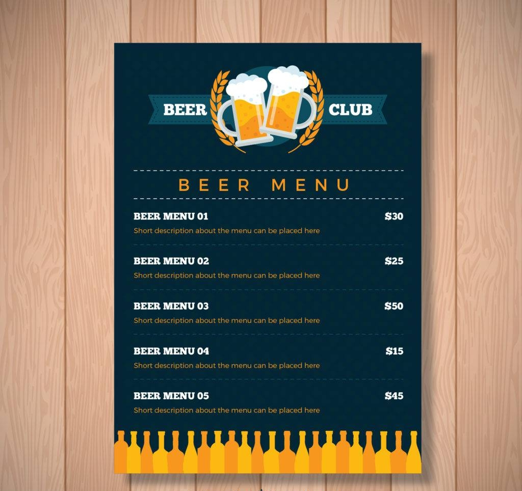 vector beer menu template