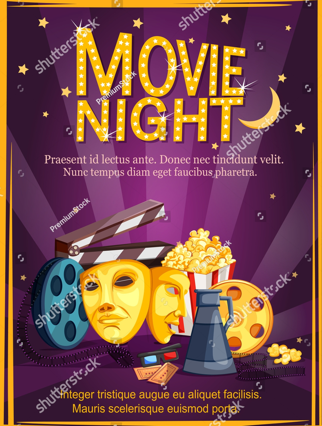 vector design movie night flyer