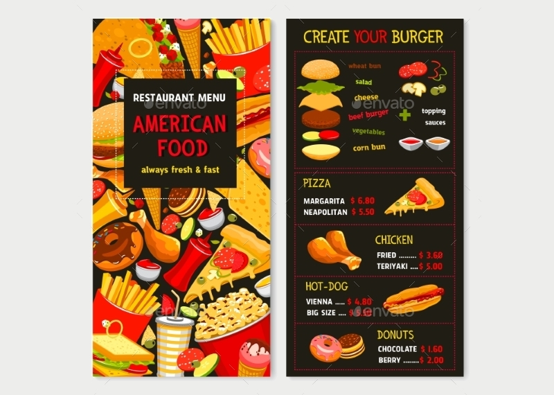 vector menu for fast food meals and desserts