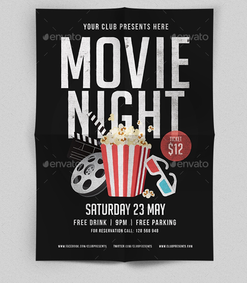 vector movie night flyer
