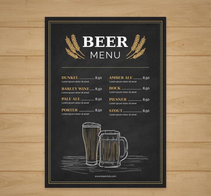 vintage style hand drawn beer menu