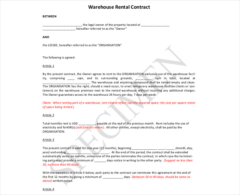 warehouse rental contract