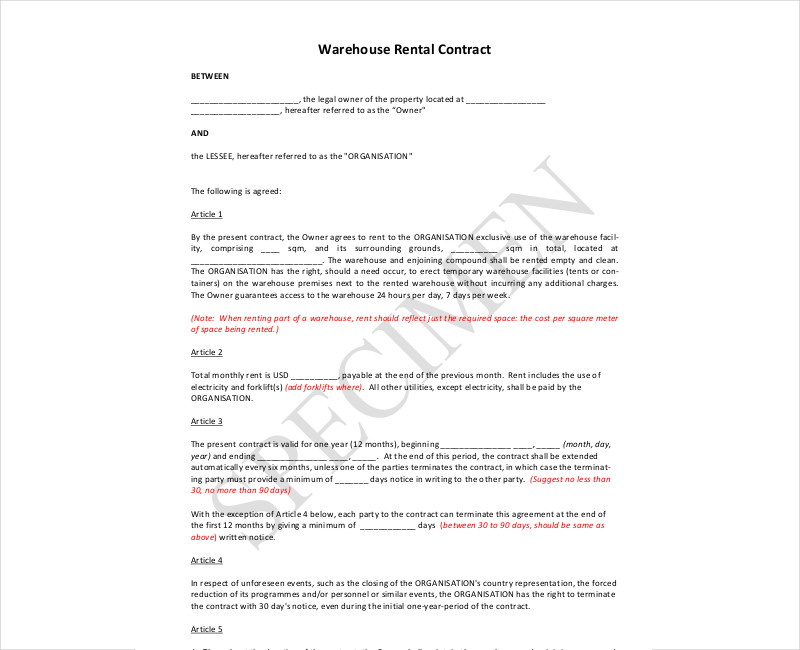 warehouse rental contract1