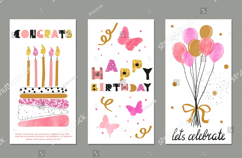 watercolor birthday greeting card
