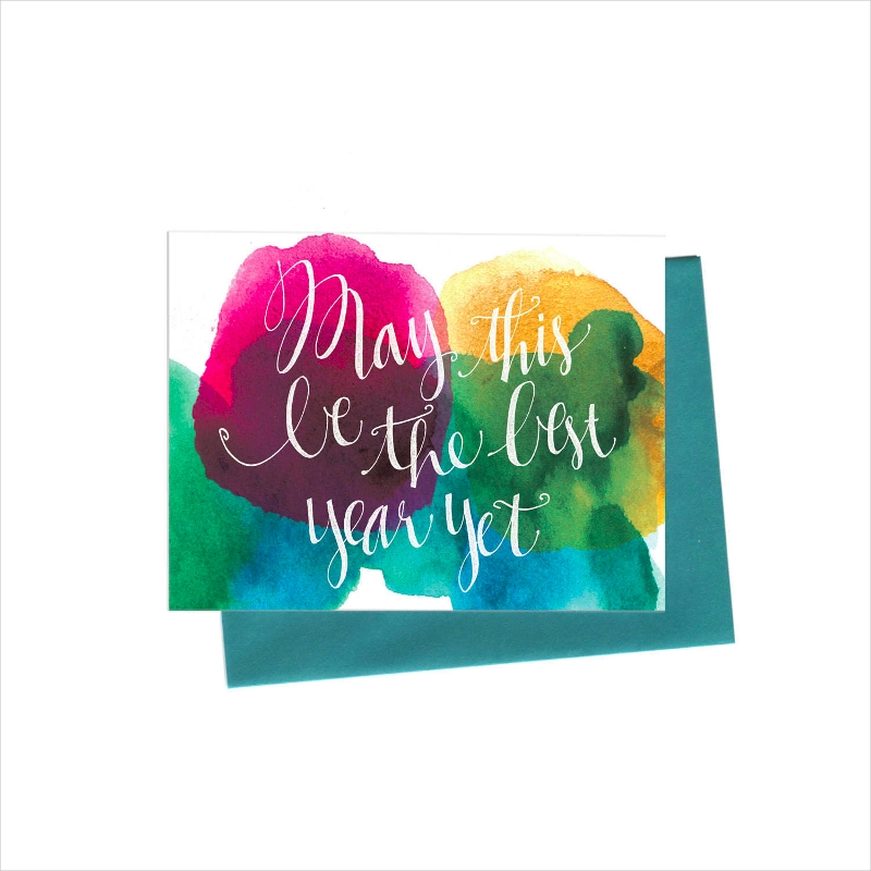 watercolor new year greeting card