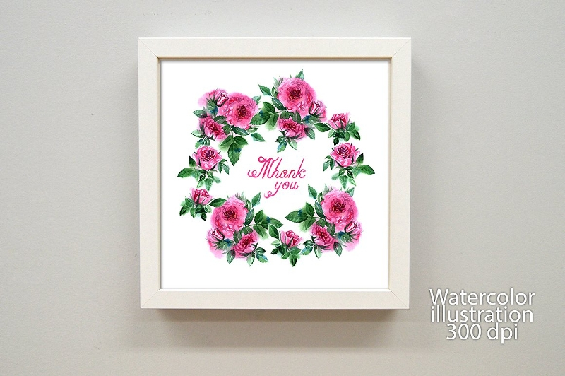 watercolor roses greeting card