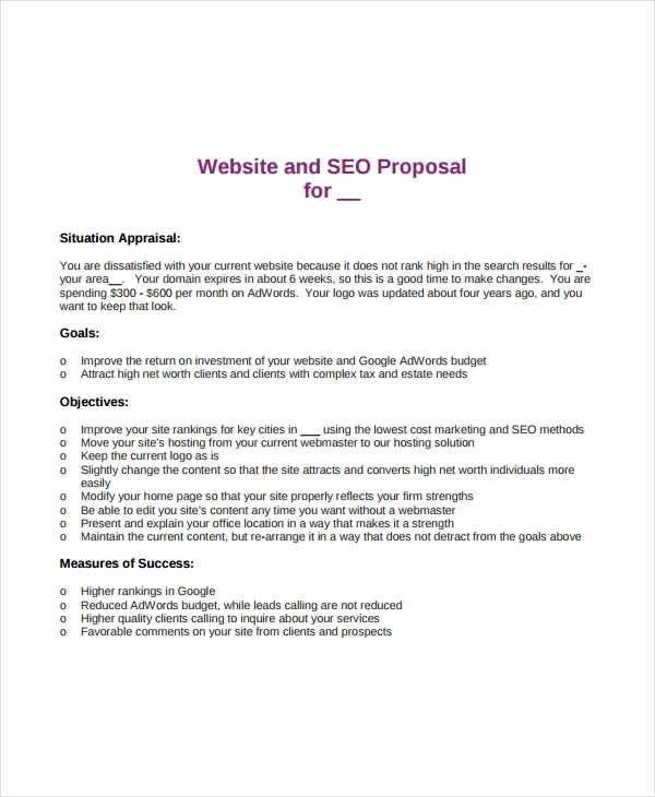 website and seo proposal