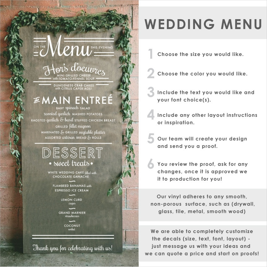 wedding menu typography sign