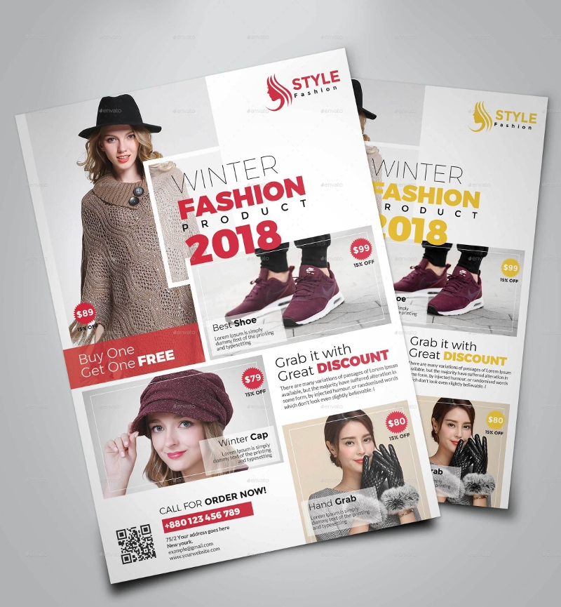 winter fashion product promotion flyer