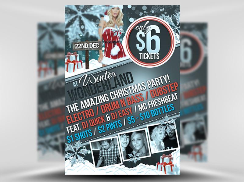 winter wonderland christmas party flyer