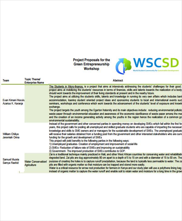 workshop project proposal
