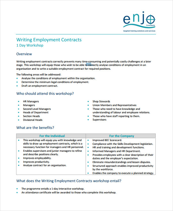 writing employment contracts
