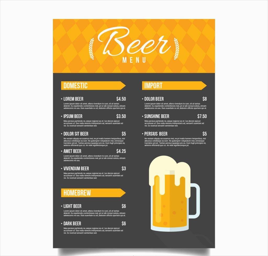 yellow and black beer menu