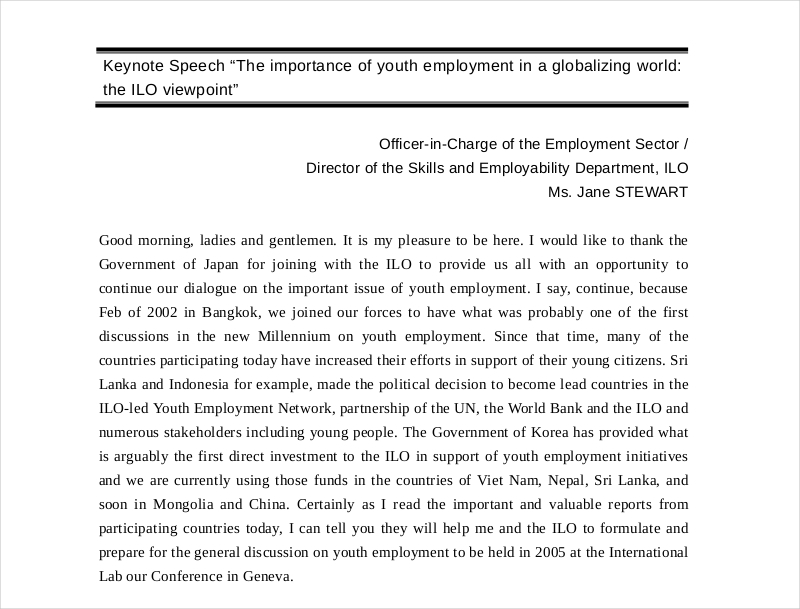 Youth Employment Speech