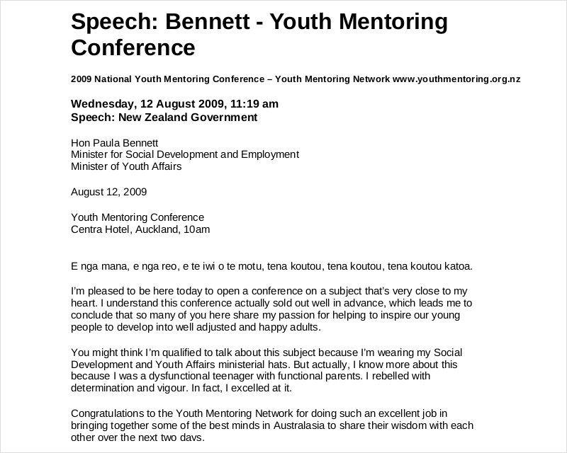 Youth Montoring Conference Speech
