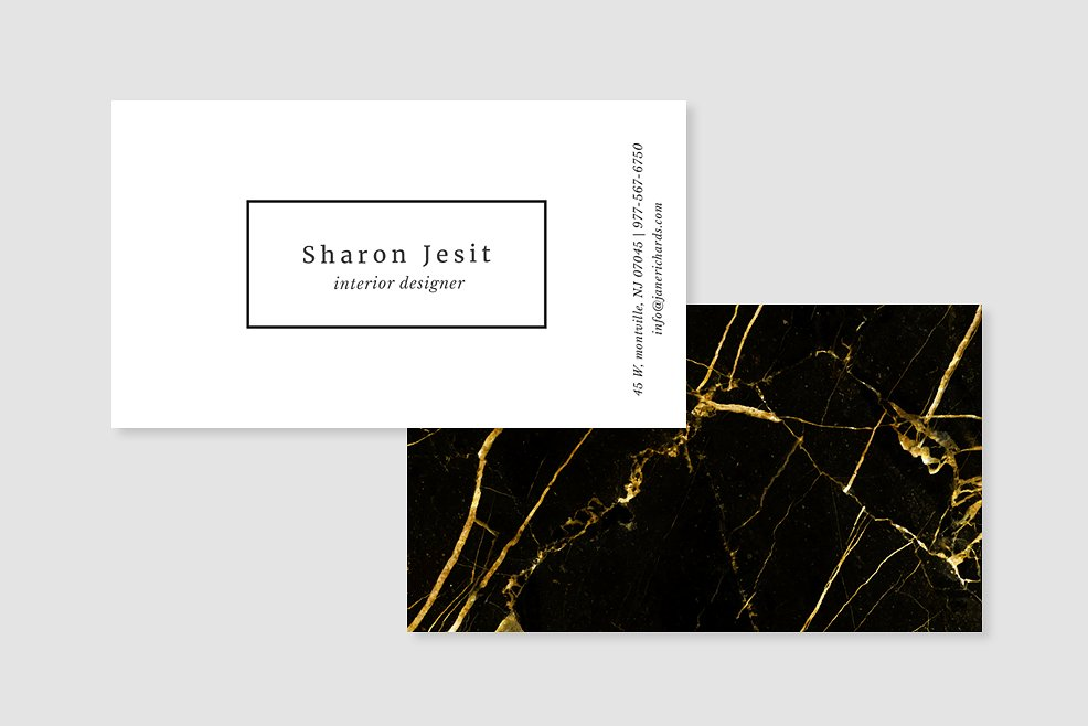 black and gold marble business card template 3
