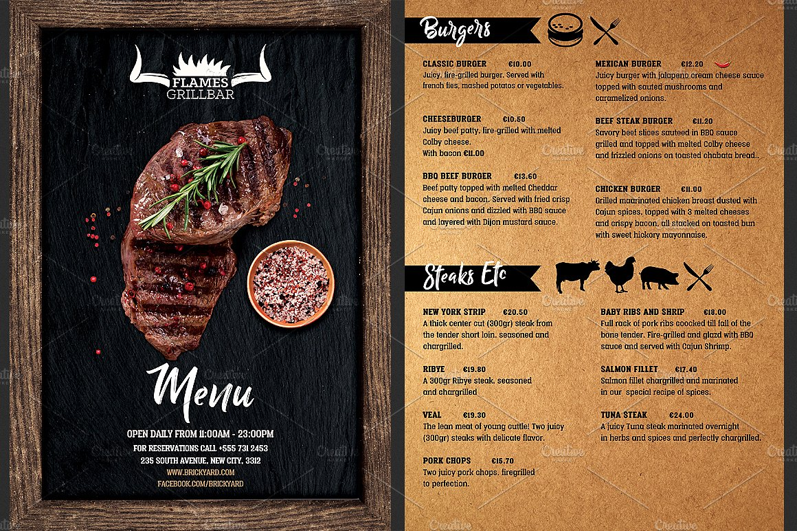 grill bar restaurant menu flyer template single