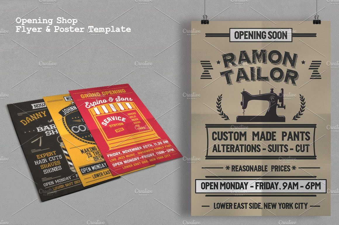 opening shop flyer poster template