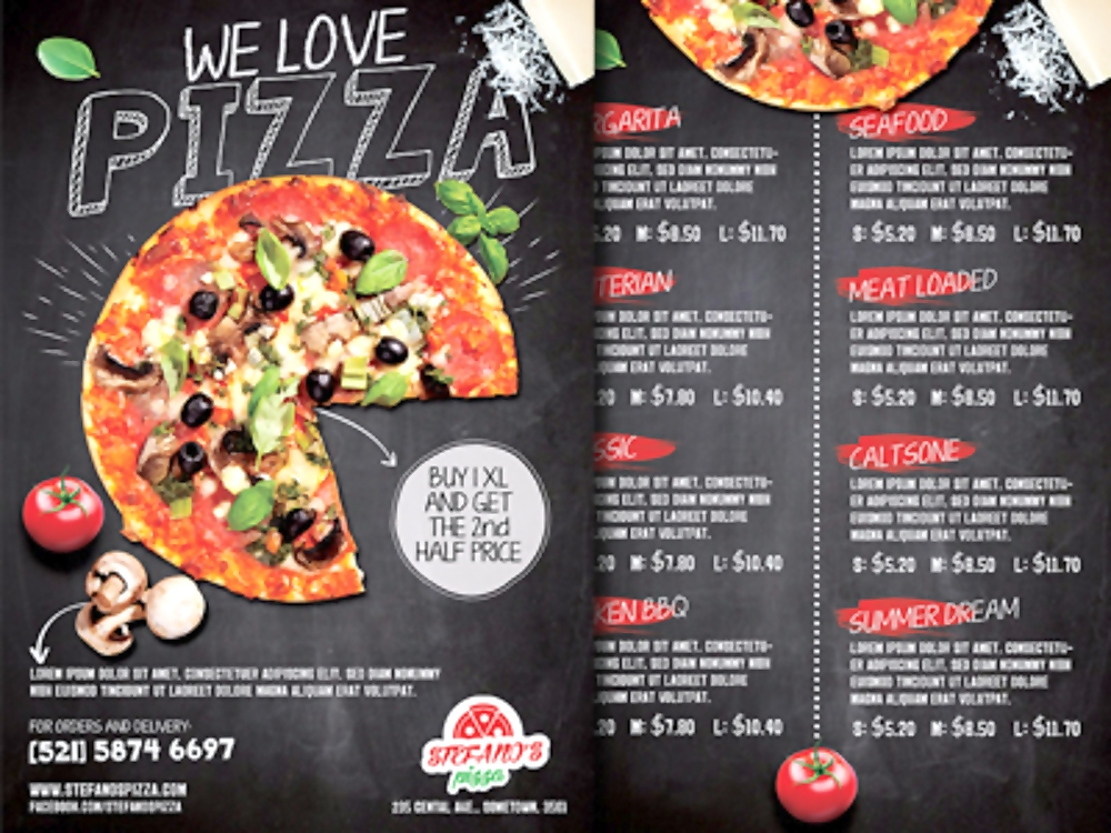 pizza promotion flyer menu