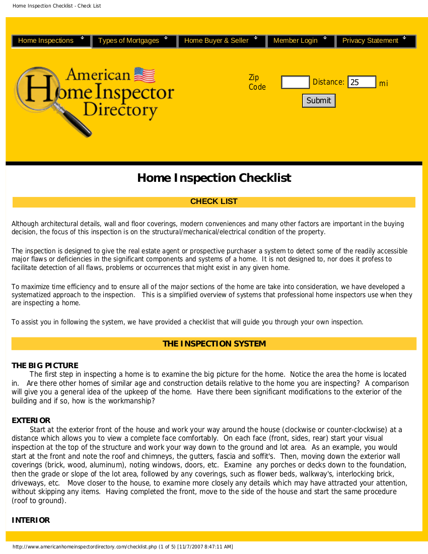 home inspection checklist for buyer