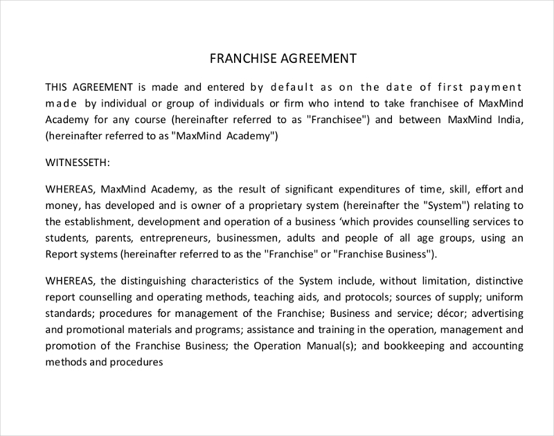 academy franchise agreement
