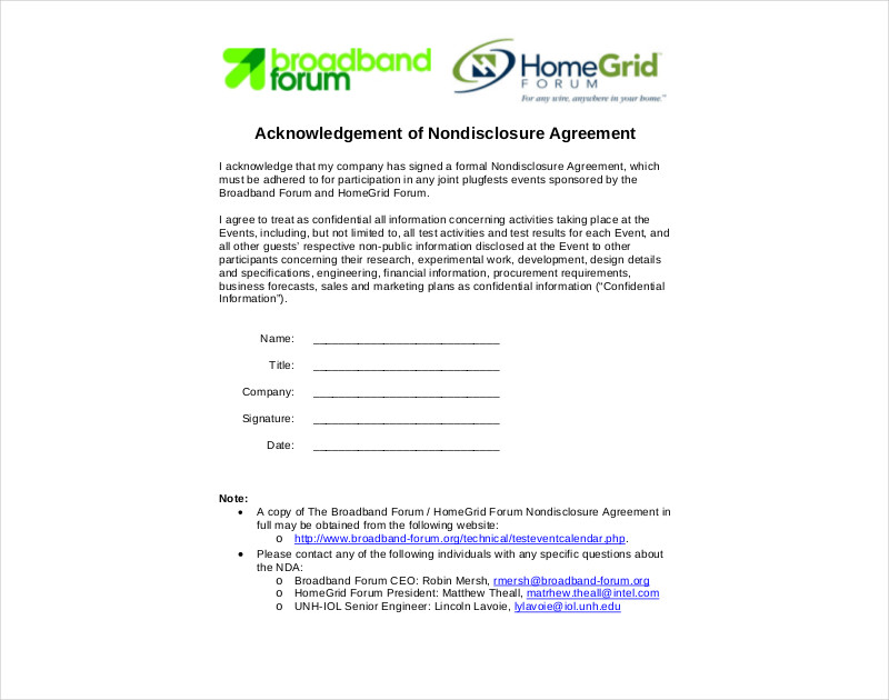 acknowledgement of nondisclosure agreement