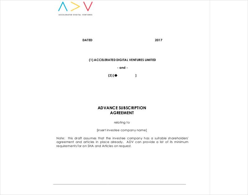 advance subscription agreement