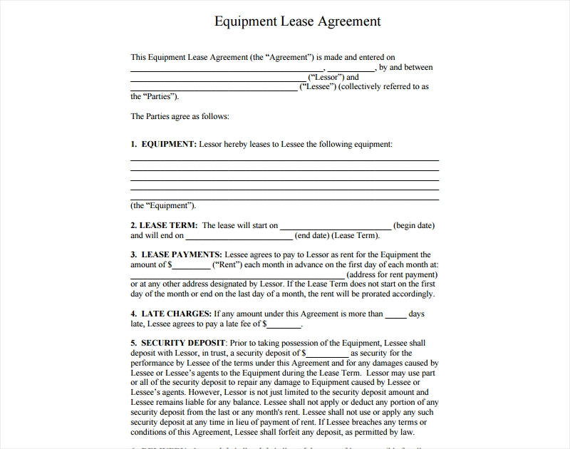 agreement for equipment lease