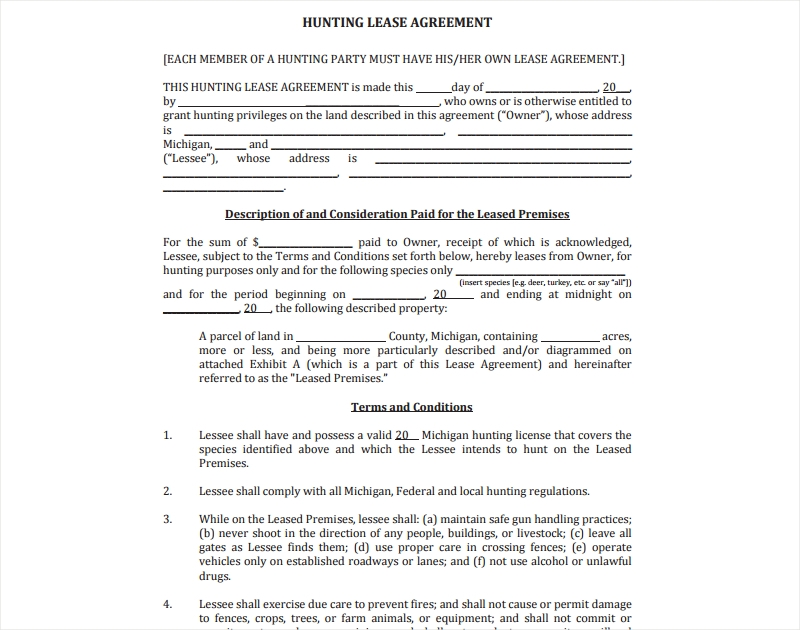 agreement for hunting lease