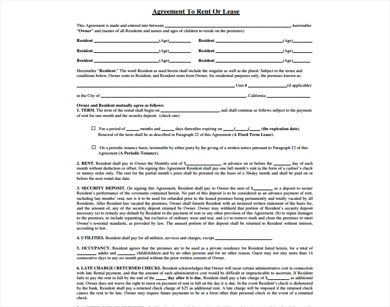 agreement to rent or lease