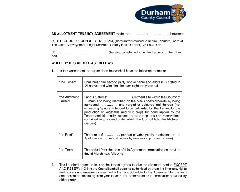 allotment tenancy agreement