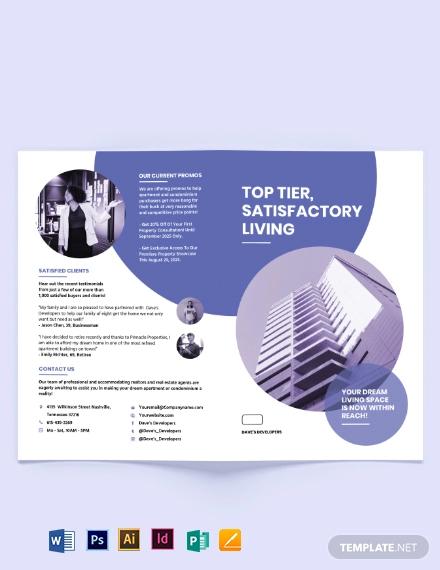 apartment condo development bi fold brochure template
