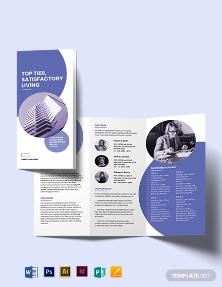 apartment condo development tri fold brochure template