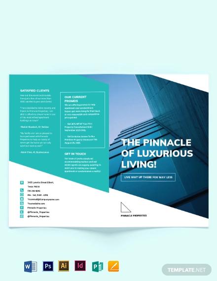 apartment condo marketing bi fold brochure template