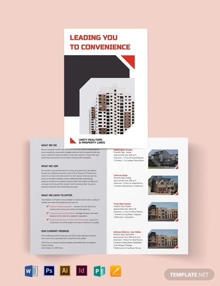 apartment condo realtor brochure bi fold brochure template