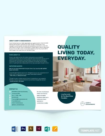 apartment condo sale bi fold brochure template