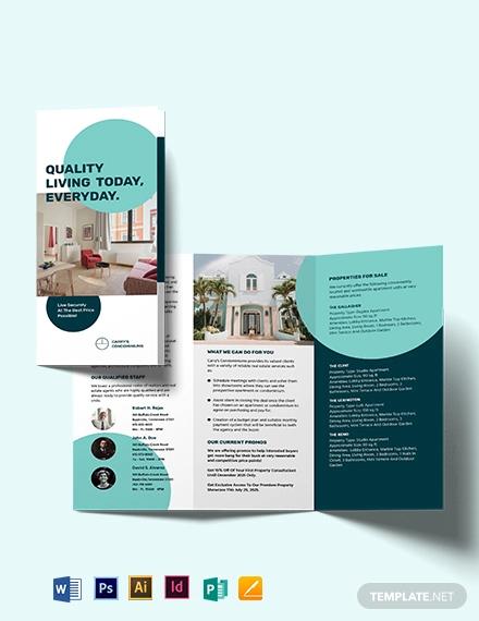 apartment condo sale tri fold brochure template